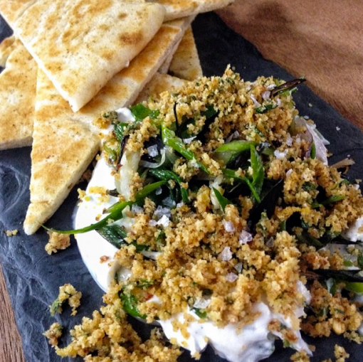 Charred spring garlic & sheep milk yogurt with naan and breadcrumbs, the fat radish | netflix & nutella